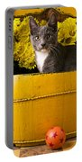Gray Kitten In Yellow Bucket Portable Battery Charger