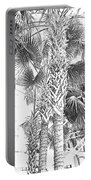Grayscale Palm Trees Pen And Ink Portable Battery Charger