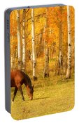 Grazing Horse In The Autumn Pasture Portable Battery Charger