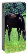Grazing Horse In The Flowers Portable Battery Charger