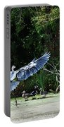 Great Blue Heron And Wood Ducks Portable Battery Charger