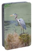 Great Blue Heron Near Pond Portable Battery Charger