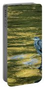 Great Blue Heron On A Golden River Portable Battery Charger