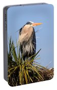Great Blue Heron On Nest In A Palm Tree Portable Battery Charger