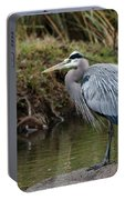 Great Blue Heron On The Watch Portable Battery Charger by George Randy Bass