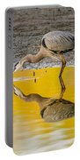 Great Blue Heron On Yellow Portable Battery Charger
