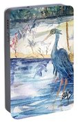 Great Blue Heron Square Cropped  Portable Battery Charger