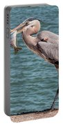 Great Blue Heron Walking With Fish #2 Portable Battery Charger