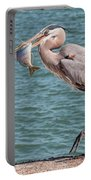 Great Blue Heron Walking With Fish #3 Portable Battery Charger