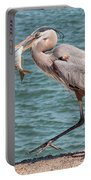 Great Blue Heron Walking With Fish #4 Portable Battery Charger