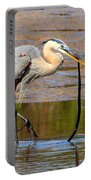 Great Blue Heron Wrestles A Snake Portable Battery Charger