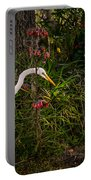 Great Egret In The Garden Portable Battery Charger