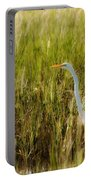 Great Egret In The Morning Dew Portable Battery Charger