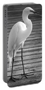 Great Egret On The Pier - Black And White Portable Battery Charger