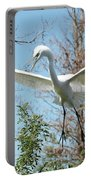 Great Egret Over The Treetops Portable Battery Charger