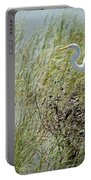 Great Egret Through Reeds Portable Battery Charger