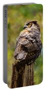 Great Horned Owl At Attention Portable Battery Charger