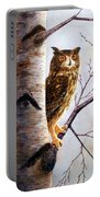 Great Horned Owl In Birch Portable Battery Charger