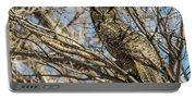 Great Horned Owl In Cottonwood Tree Portable Battery Charger