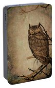 Great Horned Owl With Textures Portable Battery Charger