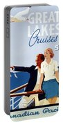 Great Lakes Cruises - Canadian Pacific - Retro Travel Poster - Vintage Poster Portable Battery Charger