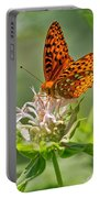 Great Spangled Fritillary On Bee Balm Portable Battery Charger