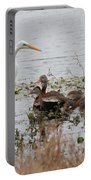 Great White Egret And Ducks Portable Battery Charger