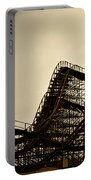 Great White Roller Coaster - Adventure Pier Wildwood Nj In Sepia Triptych 1 Portable Battery Charger
