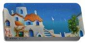Greek Blue Santorini A Greek Fairytale Portable Battery Charger
