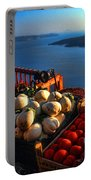 Greek Food At Santorini Portable Battery Charger by David Smith