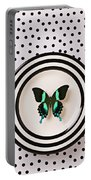Green And Black Butterfly On Plate Portable Battery Charger