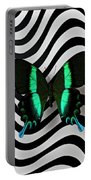 Green And Black Butterfly On Wavey Lines Portable Battery Charger