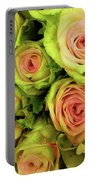 Green And Pink Rose Bouquet Portable Battery Charger