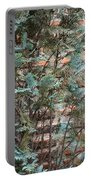 Green And Red - Cypress Branches Over Antique Roman Brick Wall Portable Battery Charger