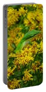 Green Anole Hiding In Golden Rod Portable Battery Charger