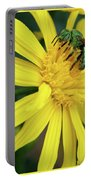 Green Bee On Yellow Daisy Portable Battery Charger