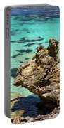Green Blue Ocean Water And Rocks Portable Battery Charger
