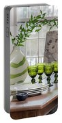 Green Decor Dinning Table Place Settings Portable Battery Charger