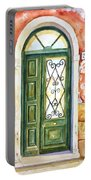 Green Door In Venice Italy Portable Battery Charger
