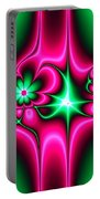 Green Flowers On Pink Ribbons Fractal 64 Portable Battery Charger
