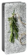 Green Fresh Rosemary On Granite Background Portable Battery Charger