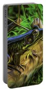 Green Frog On A Brown Log Portable Battery Charger
