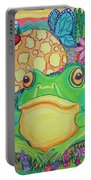 Green Frog With Flowers And Mushrooms Portable Battery Charger