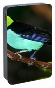 Green Headed Bird On Branch Portable Battery Charger