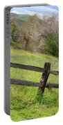 Green Hills And Rustic Fence Portable Battery Charger