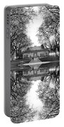 Green Lake Bathhouse Black And White Reflection Portable Battery Charger