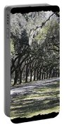 Green Lane With Live Oaks - Black Framing Portable Battery Charger