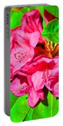 Green Leafs Of Pink Portable Battery Charger