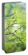 Green Leaves In The Forest Portable Battery Charger