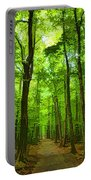 Green Light Harmony - Walking Through The Summer Forest Portable Battery Charger